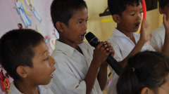 Cambodian Orphan Kids  Singing with Signs Stock Footage