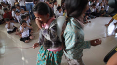 Cambodian Orphan Girls Playing Team Games Stock Footage