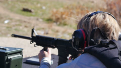 Shooting Loud gun Stock Footage