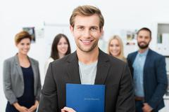 smiling young male job applicant - stock photo