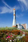 Samara, russia - september 22: real soyuz spacecraft as monument on september Stock Photos