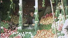 VEGETABLE STALL Seller Vendor AFGHANISTAN Kabul 1980s Vintage Film Home Movie Stock Footage