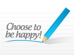 choose to be happy message illustration design - stock illustration