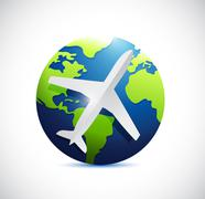 Air plane and international world globe. Stock Illustration