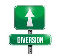 diversion road sign illustration design - stock illustration