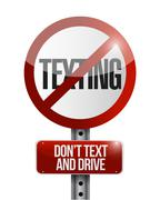 no texting road sign illustration design - stock illustration