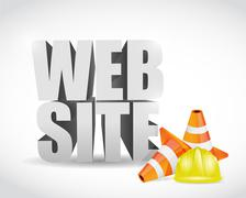 website under construction 3d text banner sign - stock illustration