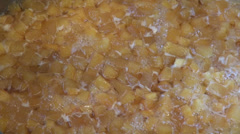 Homemade quince jam boiling, delicious dessert, yellow healthy fruits Stock Footage