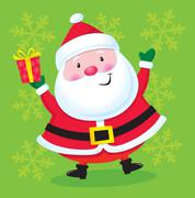 Happy Santa with a Present - stock illustration
