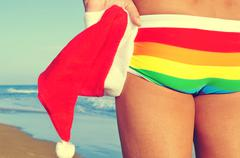 christmas at the beach - stock photo