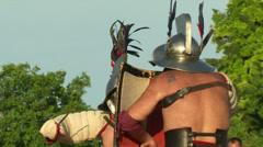 Gladiator game Hoplomachus Thraex 12 Stock Footage