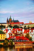 overview of old prague from charles bridge side - stock photo
