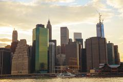 new york city skyscrapers at sunset - stock photo