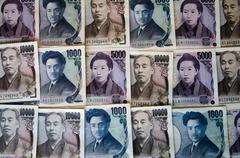 mixed japanese notes - stock photo