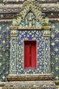 beautiful window in thai public temple. - stock photo