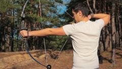 Bow Shooting Man - stock footage
