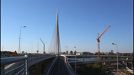Stock Video Footage of Belgrade, Ada Bridge, cranes