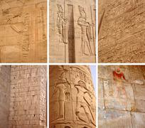set of ancient egyptian images and inscriptions. - stock photo