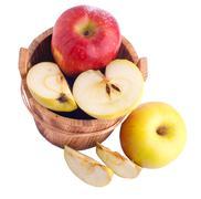 Stock Photo of apples in wooden bucket