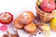 Stock Photo of muffins with apple and cinnamon