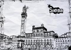 Siena City Hall on Piazza del Campo Stock Illustration