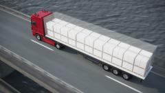 Truck on bridge revealing its load Stock Footage