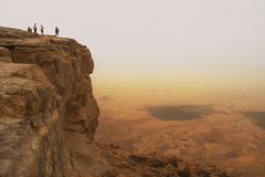 cliff over the ramon crater. - stock photo