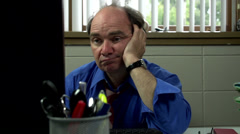 Slider shot of tired businessman in office Stock Footage