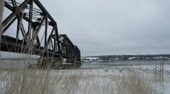Winter bridge dolly-shot Stock Footage