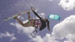 KITESURF GIRL WATER - stock footage