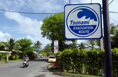 tsunami evacuation route in rarotonga cook islands - stock photo