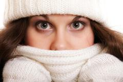 woman in warm clothing winter fashion - stock photo