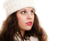 Woman in warm clothing winter fashion Stock Photos