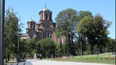 Saint Marko Church, Belgrade, people Stock Footage