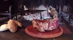 Florentine steak and porcini mushrooms Stock Footage