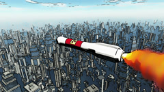 Nuclear Rocket Hits Metropolis Comic Marvel 1 Stock Footage