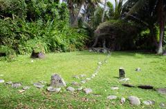 arai te tonga marae in rarotonga cook islands - stock photo