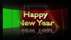 Happy New Year Text in Monitors with Green Screen Transition Stock Footage