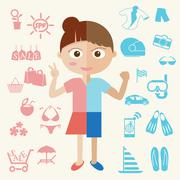 Girl and Boy half body with object icon. Vector Stock Illustration