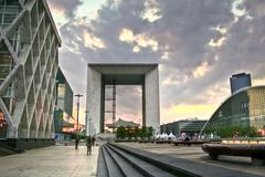 Stock Photo of La Défense headquarter and the Arc