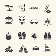 Vacation and tourism icons. Vector - stock illustration