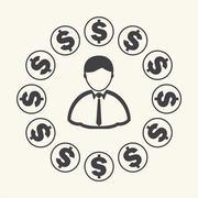 Money around Businessman. Vector - stock illustration