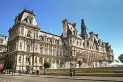 The Hôtel de Ville in Paris front view Stock Photos