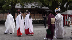 Wedding Procession at Atsuta Shrine Stock Footage