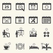 Business Time and Calendar icons set with texture background. Stock Illustration
