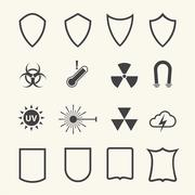 Shield and protection icons set on texture background. Vector - stock illustration