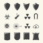 Stock Illustration of Shield and protection icons set on texture background. Vector