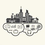 Stock Illustration of Anywhere use the cloud. Cloud computing concept. Vector