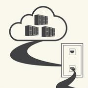 Cloud computing concept design. Connected to the cloud. Vector - stock illustration