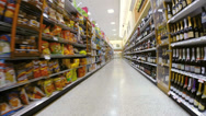 Stock Video Footage of Supermarket wine and chips